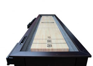 "12ft 6 1950 detail 300x214 - Berner ""The Aspen"" 12 foot – 2 in 1 Shuffleboard & Console Table"