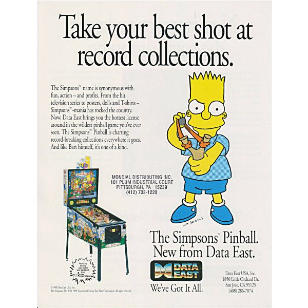 Simpsons Pinball Machine Flyer