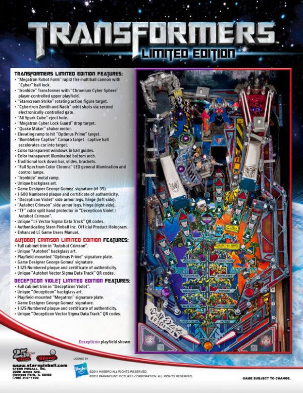 Transformers Pinball Machine Flyer