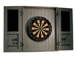 Dartboard cabinet open 300x232 - Rustic Dartboard Cabinet