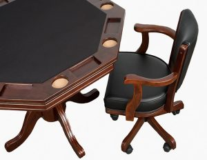 "Poker Table With Caster Chair 300x232 - Octagonal Poker Table - Two in One Table (48"") with top"