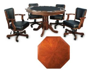 "Poker Table With Top 300x232 - Octagonal 2-in-1 Poker Table (48"") Set with 4 Chairs"