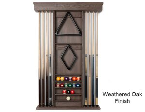 Weathered Oak Finish Wall Rack 300x232 - Carmel Pool Table