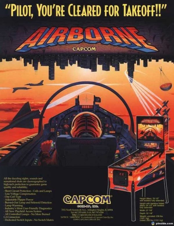 Airborne Pinball Machine by Capcom