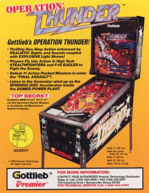 Operation: Thunder Pinball Machine by Gottlieb