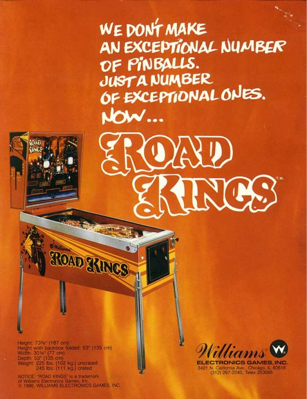 Road Kings Pinball Machine Flyer