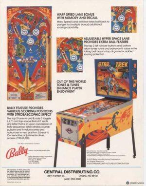 Star Trek Pinball Machine by Bally Flyer