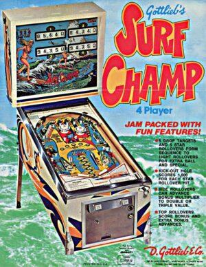 Surf Champ Pinball Machine Flyer
