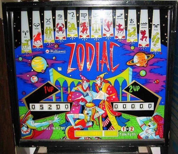 Zodiac Pinball Machine Backglass