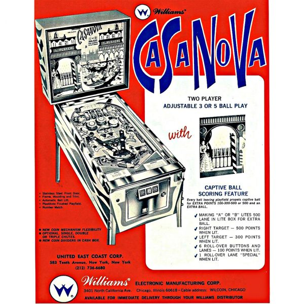 Casanova Pinball Machine Flyer