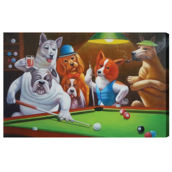 Dogs Playing Pool Oil Painting