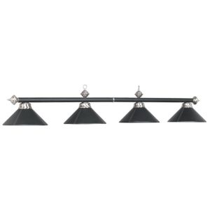 Four-Light Billiard Pendant Fixture - Black Leather