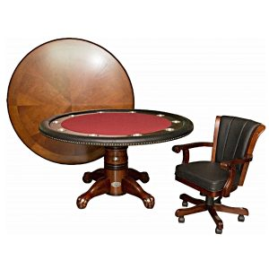 "Poker Table with Dining Top - 60"" Dark Walnut 6"