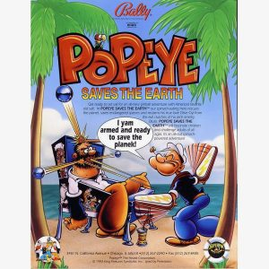 Popeye Saves the Earth Pinball Flyer