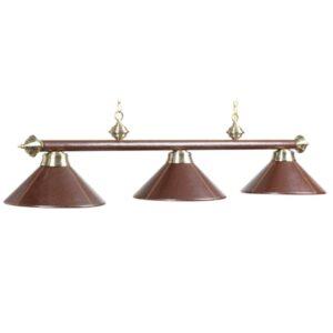Three-Light Metal Billiard Light Fixture Brown